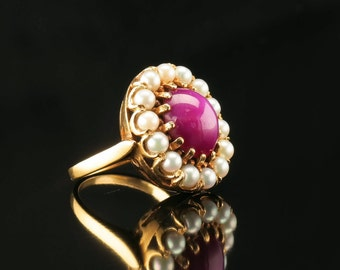 14K Six Point Star Ruby Cabochon Gold Ring and Cultured Pearl Size 7 Vintage