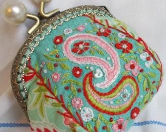 Little Millie hand embroidered coin purse - turquoise, pink and red