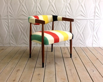 Mid Century Danish Style Side Arm Chair Hudson Bay Striped Upholstery Modern Retro 50's 60's Curved Round Back
