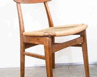 Mid Century Modern Dining Chair Rush Lounge Side Vintage Japanese AFM Furniture Danish Wegner FREE SHIPPING