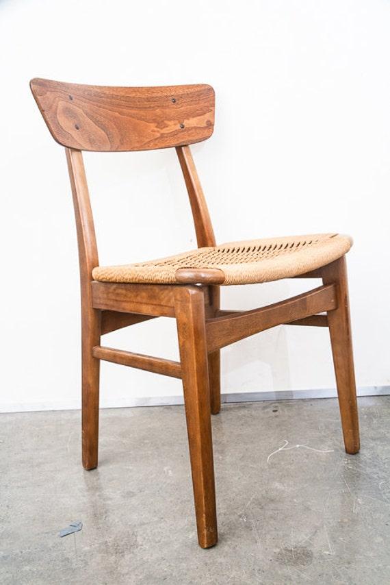 Mid century modern dining chair rush lounge side vintage for Mid century modern dining chairs vintage