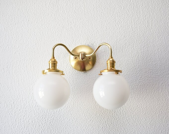 "Free Shipping! Gold Brass Wall Sconce Double White 6"" Globe Vanity Mid Century Industrial Modern Art Light UL Listed"