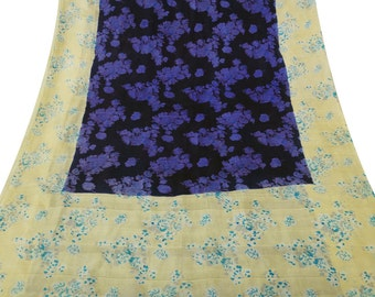 Vintage Indian Traditional Clothing Home Decor Saree Pure Silk Printed Fabric Women Wrap Craft Sarong Floral Blue Drape Sari PS43144