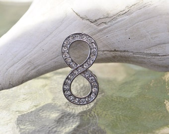 Beautiful silver plated infinite spacer with rhinestones in front (small size)