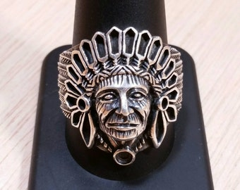 Sterling Silver Native American Indian Chief Ring size 12