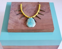Talk of the Tribe // Gem Collection // Bohemian Howlite Stone Statement Necklace, Bright Blue, Yellow
