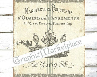 Crown Paris Parisenne French Manufacture Download Transfer Burlap digital collage sheet graphic printable No. 800
