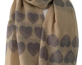 Heart Print Scarf , Beige and Grey Love Hearts Pattern, Ladies Taupe Wrap, Brown Shawl