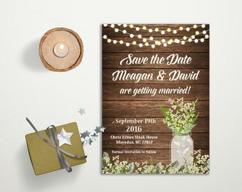 Save the date Card Printable, Rustic Save the Date Card, Babys Breath Mason Jar Save the Date Card, Printable Save the Date, Digital File