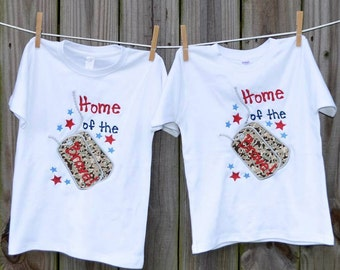 Personalized 4th of July Patriotic Home of the Brave Dog Tags Applique Shirt or Onesie Girl Boy