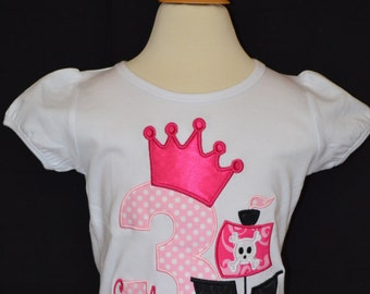 Personalized Birthday Princess Pirate Ship Applique Shirt or Onesie Girl or Boy