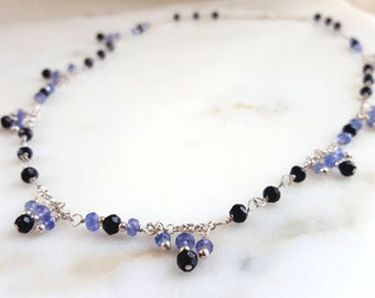 Tanzanite Necklace, Black Spinel Sterling Silver Dangling Multi Gemstone 18 inch Layering Chain Elegant High End Fine Jewelry by Life Bijou