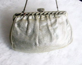 Silver Convertible Clutch With Matching Change Purse Ornate Snap Closure 1960s Collectible Gift Item 1907