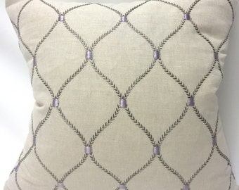 Geometric Embroidery in Purple and Linen