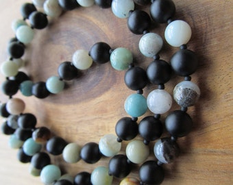 Mens Necklace, Matte Black Onyx & Amazonite,  Mens Beaded Necklace, 8mm, Men's Necklace, Gift Ideas for Men, Long Necklace, Mens Jewelry