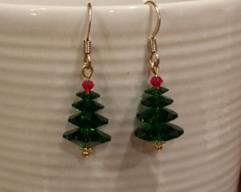 Holiday Tree Earrings - Swarkoski Crystal