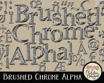 Metal Digital Alpha - Chrome Digital Scrapbook Alpha Clip art - Brushed Metal Alphabet, Digital Alpha, Digital Letters Clipart
