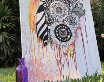 Watercolor Zentangle Wall Art - Original Hand Painted Design On Canvas