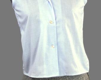 Miss Preston Periwinkle Vintage 1960 Blouse , Size XS