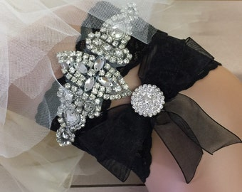 Rhinestone wedding garter black lace