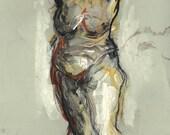 """RESERVIERT für ULRIKE! Originalzeichnung, """"Hommage à Rubens XVI"""",  Mischtechnik auf Papier, 46x31 cm"""