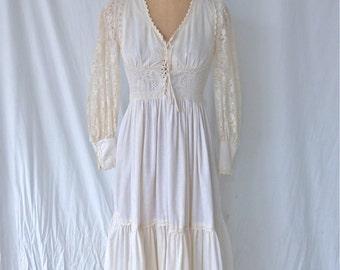 Gunne Sax White Lace and Cotton Maxi Dress