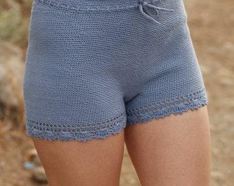 shorts, trousers, crochet, drops design, crocheted trousers, short trouser, beach