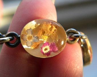 Sterling Silver Preserved Dried Flower Bracelet