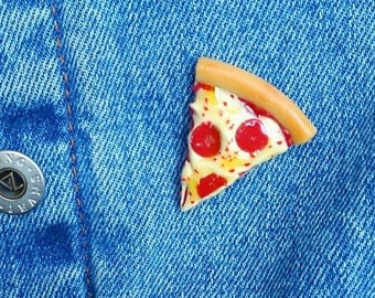 Pizza Slice Pin, Pizza Patch, Cheese Pizza Pinback Brooch, Pepperoni Pizza Button, Piece of Flair, Miniature Food Jewelry, Kawaii Pizza