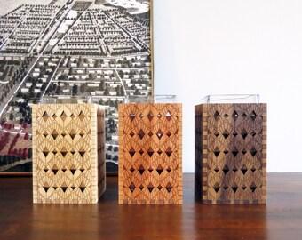 Wood Vase - Engraved Wood Vase - Wood Home Decor- Art Deco