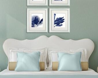 Tropical Decor - Tropical Leaves 1, Blue on White - tropical prints palm leaf tropical art palm print tropical wall art blue art print