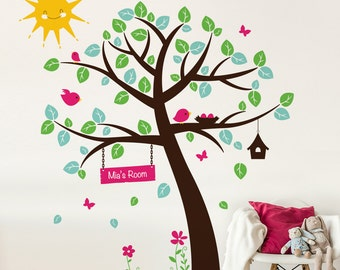 Woodland Tree with Birds and Sunshine Wall Decal - Nursery Tree And Name Wall Sticker - Birds Nest in Tree Wall Decal