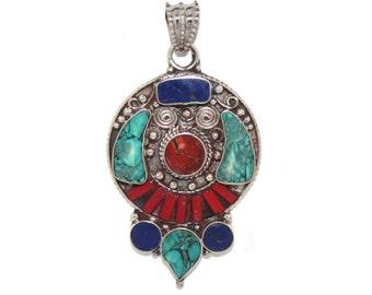 Lapis Bracelet coral Bracelet Turquoise Pendant Nepal Pendant nepalese pendant Tibetan Pendant Tibet pendant boho pendant gypsy pendant PB23