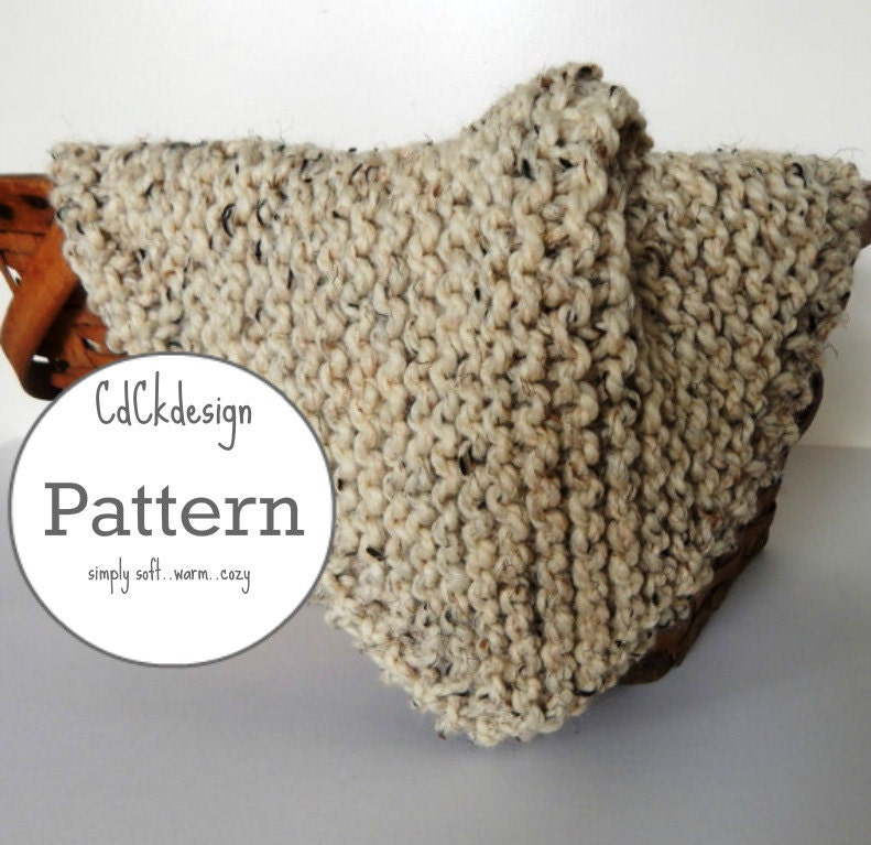 Knitting Pattern Chunky Wool Blanket : Knitting Pattern Chunky Knit Wool Baby Blanket Baby Throw