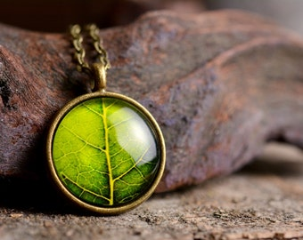 Leaf necklace, leaf pendant, nature necklace, leaf jewelry, green leaf necklace, nature jewelry, green necklace, picture necklace
