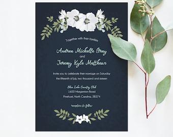 Wedding Invitation Printable - Navy, Mint & White Wedding Invite suite, Black and White Wedding Invitation / Stationery Suite. 5x7 Invite