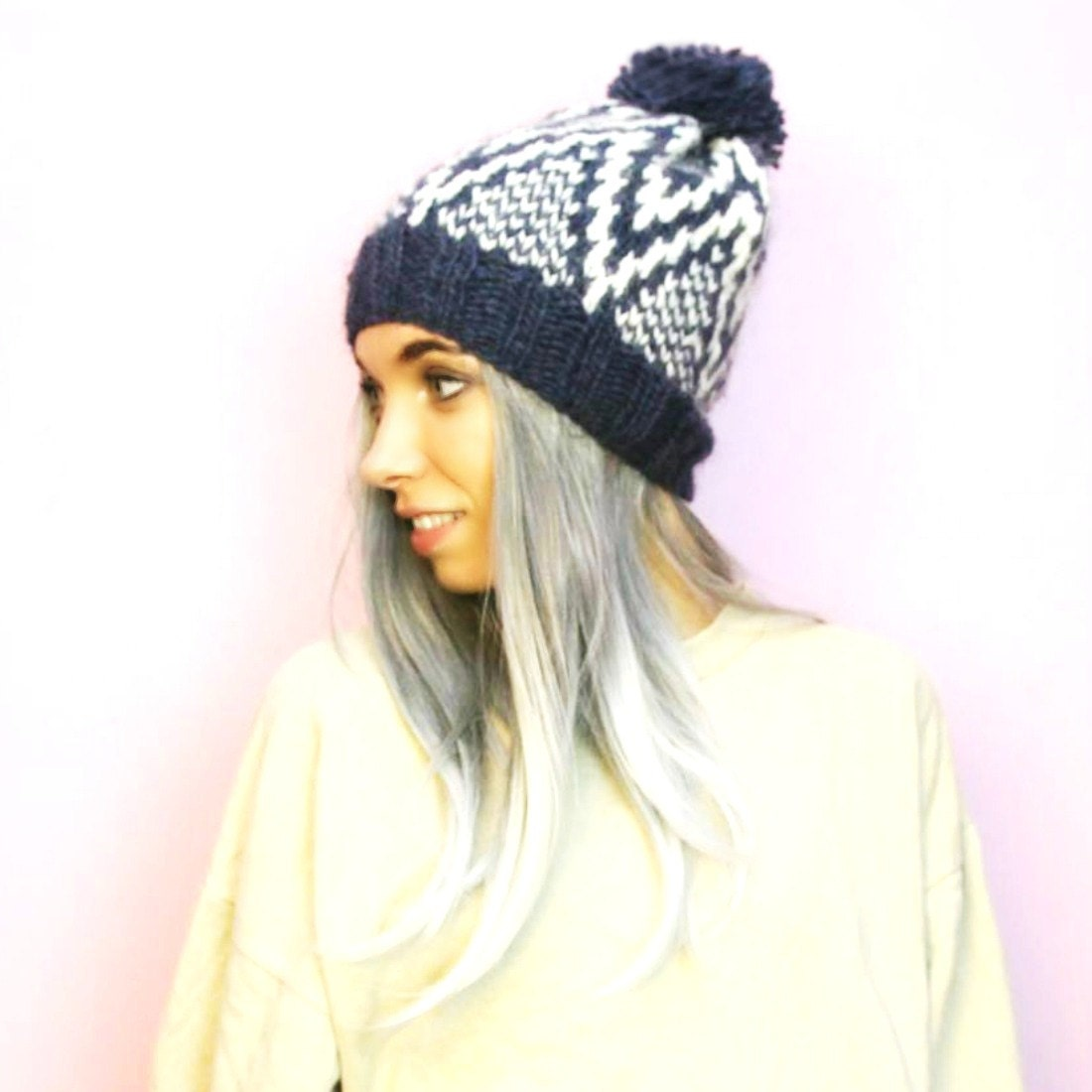 Knitting Patterns For Nordic Hats : Knitted Hat Wool Hat Nordic Alafosslopi Fair Isle