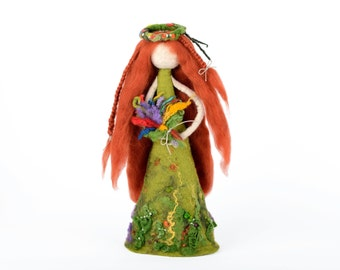 Forest fairy - felted figurine in woodland style - waldorf doll - fantasy home decor - felted wool art - meadow pixie - summer goddess [H20]