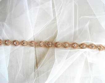 Rose gold Bridal Belt Sash Rhinestone Belt Sash Flower Girl Rose Gold Bridesmaid Gift Sash belt Crystal Rose Gold Dress Sash Belt