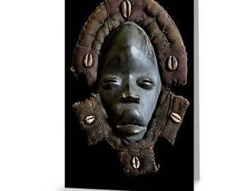 African Art Greeting Card 4x6 or 5x7.5 - Blank Inside / Dan Deangle Face Mask / Orig Fine Art Photography