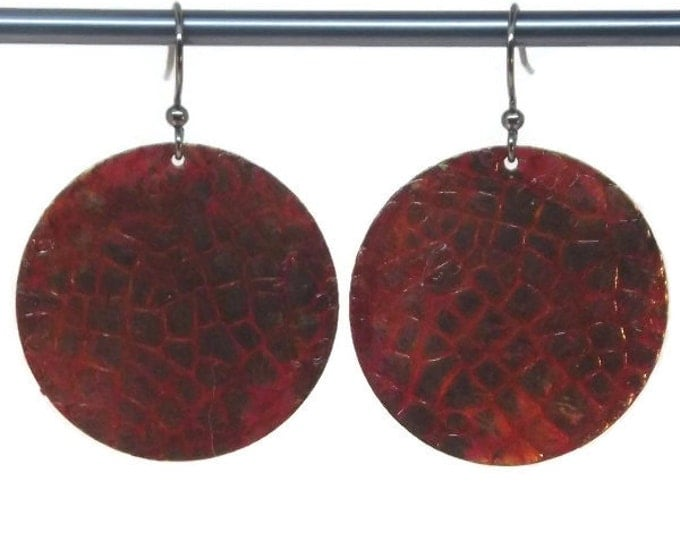 Hand Painted Red Dragon Scales Dangle Drop Earrings, OOAK, One of a kind, Nickle Free Gun Metal Ear Wires