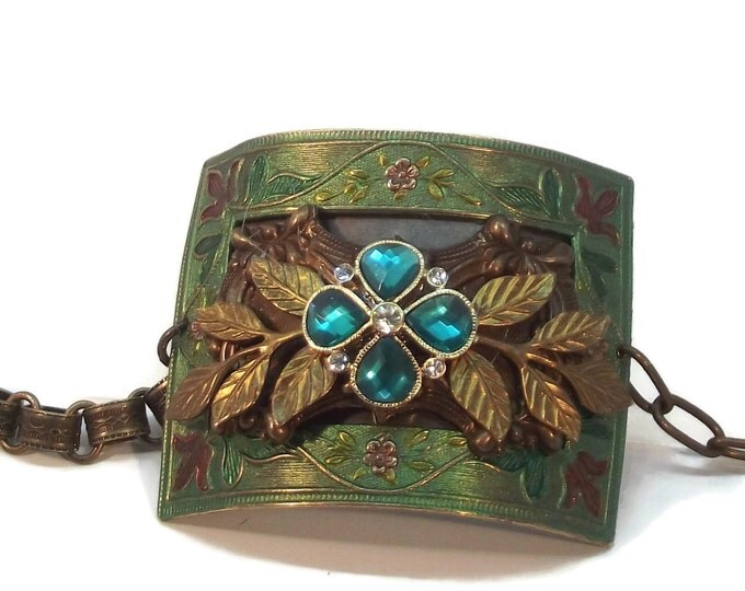 Emerald Green Vintage Victorian Style Rhinestone Adjustable Cuff Bracelet, Handmade Jewelry, OOAK, One of a Kind