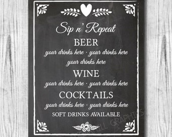 Custom Wedding Bar Menu Sign, Printable Chalkboard Wedding Sign, Rustic Wedding Sign, Bar Menu Sign, Wedding Decor, Wedding Signage