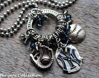 New York Yankees Necklace, New York Yankees Jewelry, Yankees Necklace, Yankees Jewelry, Yankees Fan Gift Item