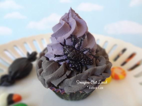 Fake Cupcake Halloween Glittered Fly Trick or Treat Cupcake Display Decor