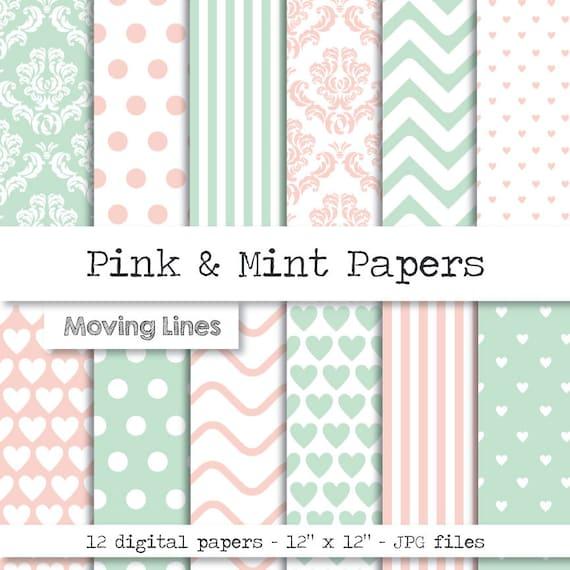 pastell digitale papier rosa mint damast hochzeitsdeko. Black Bedroom Furniture Sets. Home Design Ideas