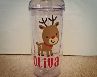 Christmas Tumbler, Rudolph the Red Nosed Reindeer Tumbler, Custom Christmas Cup, Kids Christmas Cup, Monogram Christmas Tumbler
