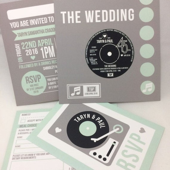 Wedding party invitations vinyl record design by for Etsy vinyl wedding invitations