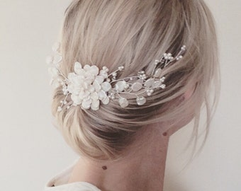 Bridal hair comb, wedding hair accessories, bridal headpiece, flower hair comb, floral vine, freshwater pearl peony, Swarovski crystal