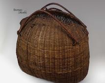 "Vintage Basket Bag 16""x17.5"" Sumba Tribal Basket, Indonesian Basket, Collectible Basket Bag, Angling-Curling-Skye Basket Bag,Art Home Decor"